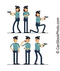 ensemble, sécurité, blanc, debout, isolé, public, officier, uniforme, vecteur, mâle, character., femme, différent, illustration, caractères, arrière-plan., poses., policier