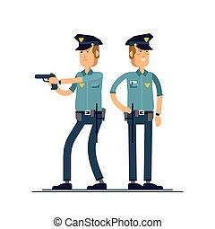 ensemble, sécurité, blanc, debout, isolé, public, officier, uniforme, vecteur, mâle, character., différent, illustration, caractères, arrière-plan., poses., policier