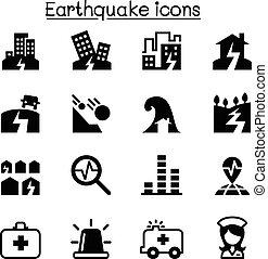 ensemble, séisme, icône