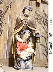 ensemble, saint, famille, tient, l, nativité, joseph, saint