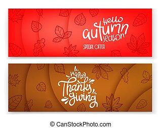 ensemble, saison, automne, banners., publicité, bannières
