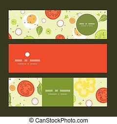 ensemble, salade, modèle, vecteur, fond, frais, bannières horizontales