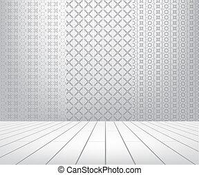 ensemble, salle, plancher, bois, seamless, blanc