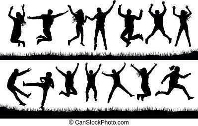 ensemble, sauter, silhouette, foule, gens
