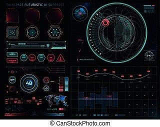 ensemble, sci, moderne, interface utilisateur, fi, futuriste