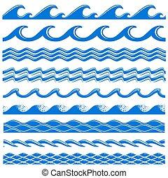 ensemble, seamless, eau, vecteur, mer, vagues, frontières