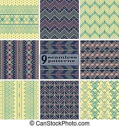 ensemble, seamless, motifs, motifs, ethnique, géométrique
