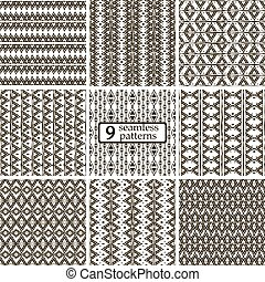 ensemble, seamless, motifs, noir, motifs, ethnique, 9, blanc