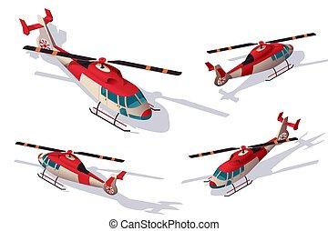 ensemble, secours, soutien, air., livraison, hélicoptère, transport