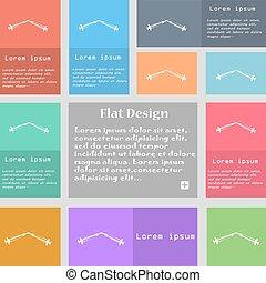 ensemble, seringues, espace, signe., text., multicolore, boutons, vecteur, icône