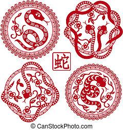 ensemble, serpents, chinois, symbole, année, appelé, 2013