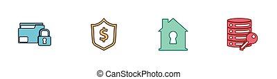 ensemble, serrure, clã©, vecteur, bouclier, dollar, protection, sous, icon., maison, sécurité, dossier, serveur