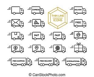 ensemble, service, expédition, camion livraison, ligne mince, icône