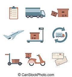 ensemble, service, icônes, collection., livraison, vecteur, shipping.