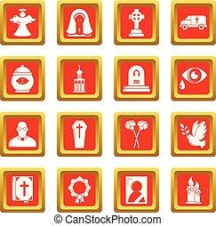 ensemble, service, icônes, obseque, rituel, vecteur, carrée...