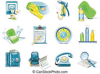 ensemble, service, lavage voiture, vecteur, icône