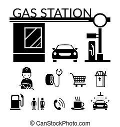 ensemble, service, objets, icônes, station-service