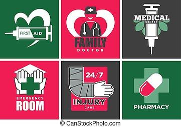 ensemble, service, promotionnel, emblèmes, santé, médecine,...