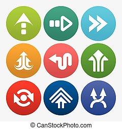 ensemble, signe, business, icône flèche