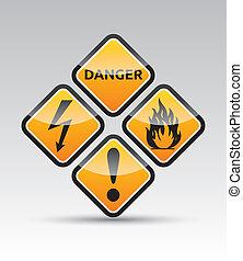 ensemble, signe danger, avertissement, coin, rond