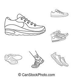 ensemble, signe., objet, web., isolé, chaussure, fitness, portez symbole, stockage