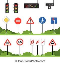 ensemble, signe, vecteur, circulation signe, illustrations, divers, route