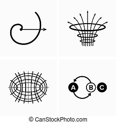 ensemble, signes, icônes, scientifique, symboles