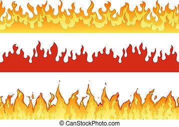 ensemble, silhouette, banner., brûler, flames., flamboyant, éternel, ardent, flamme, illustration, enfer, bannières, frontière, ou