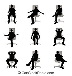 ensemble, silhouette, bureau, séance, gris, illustration, chaise, homme