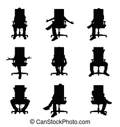 ensemble, silhouette, bureau, séance, illustration, chaise, homme