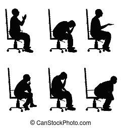 ensemble, silhouette, bureau, séance, illustration, divers, chaise, poses, homme