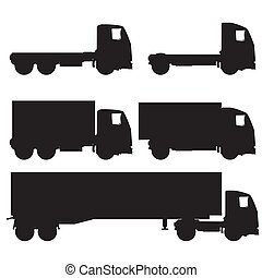 ensemble, silhouette, camions, icônes, noir, blanc