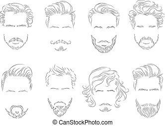 ensemble, silhouette, cheveux, moustache barbe, homme