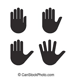 ensemble, silhouette, collection, main, noir, humain, icône
