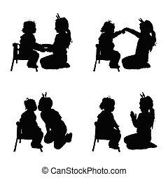 ensemble, silhouette, couleur, illustration, noir, joli, enfant joue