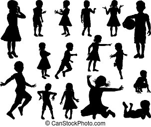 ensemble, silhouette, enfants, gosses