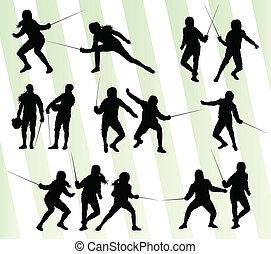 ensemble, silhouette, escrime, vecteur, fond, sport