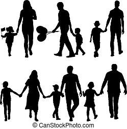 ensemble, silhouette, famille, fond, blanc, heureux