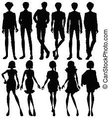 ensemble, silhouette, gens, caractère