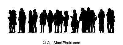 ensemble, silhouette, gens, long, file, 2