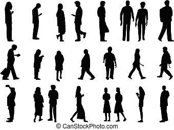 ensemble, silhouette, gens, vecteur, conception, style