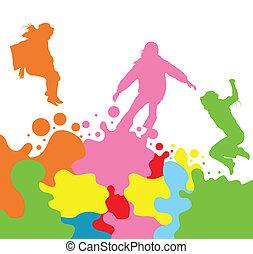 ensemble, silhouette, gosses, sauter, filles, vecteur, fond