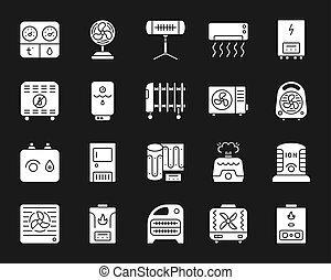 ensemble, silhouette, hvac, icônes, vecteur, blanc