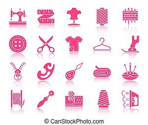 ensemble, silhouette, icônes, couleur, couture, vecteur