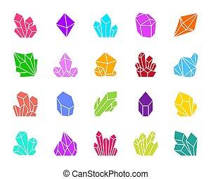 ensemble, silhouette, icônes, couleur, cristal, vecteur