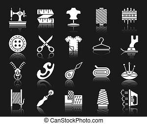 ensemble, silhouette, icônes, couture, vecteur, blanc