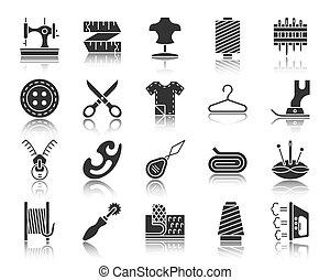 ensemble, silhouette, icônes, couture, vecteur, noir