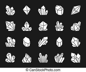 ensemble, silhouette, icônes, cristal, vecteur, blanc
