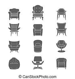 ensemble, silhouette, icônes, fauteuil, isolé, vecteur