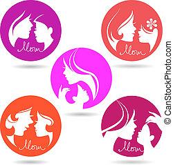 ensemble, silhouette, icônes, mère, symbols., mère, bébé, jour, heureux